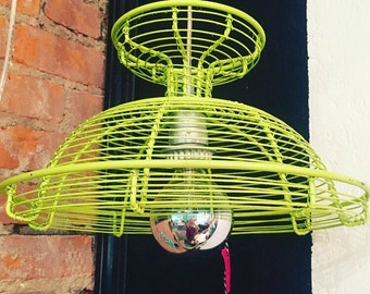 Lime Green Wire Silver Light Hanging Lamp