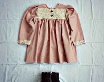EMMYLOU PINK Girls Long Sleeve Pioneer Vintage Style 1900s Costume or Daywear Dress Primitive Winter
