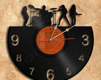 Wall Clock Rock Group Vinyl Record Clock home decoration housewares Upcycled Gift Idea
