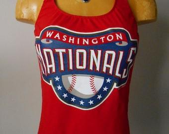 Washington Nationals halter top DIY Reconstructed MLB Baseball