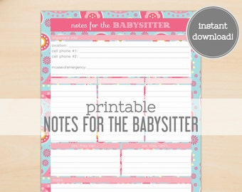 Notes for Babysitter Printable - Paisley