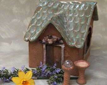 fairy garden fairy house with owl decoration over the door OOAK