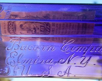 GIGANTIC antique amethyst ORANGE Flavoring Extract bottle - Full Quart - Embossed & Labeled Bacorn's Flavoring ELMIRA N. Y.