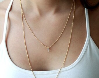 Valentines Sale Multi layered gold chain necklace - gold bridal double layered necklace - bridal jewelry - gold bridal jewelry