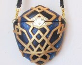 Gold purse / evening purse / Metallic Gold / Midnight blue / cross body bag / galaxy / stars and planets / Sci-Fi