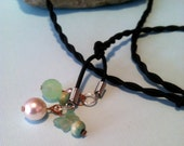 Genuine Jade, Pearl and Butterfly lariat style necklace