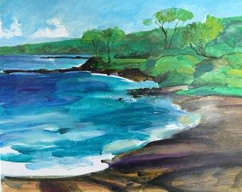 Original Painting - Makenna Black Sand Beach - Plein Air Painting