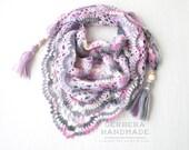 Pink Gray Crochet shawl, gray shawl, lace shawl, lace crochet shawl, mini shawl