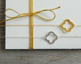 Clover Necklace, Gold Sideways Clover Necklace, Four Leaf Necklace, Good Luck Necklace, Mothers necklace