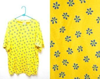 90s Yellow Daisy Tee Shirt Womens Plus Size 1X Oversized