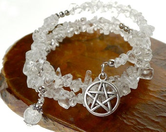 Crystal Beaded Pentacle Bracelet, Memory Wire Wrap Bracelet - Handmade Gemstone Wiccan / Pagan / Witchcraft Pentagram Jewelry