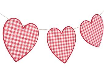 Red White GIngham Heart Garland - Picnic Garland - Picnic Banner - Picnic Baby Shower - Picnic Party - Gingham Banner - Pizza Party Garland