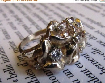 DEADsy LAST GASP SALE wallflower : Diamond Cluster Engagement Ring, Yellow Gold, Flowers with Natural Woodland Accents, Unique