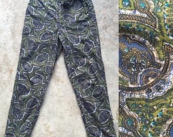 50s Cotton Batik Print Cigarette Pant Capri Pants 25 Inch waist XS // Gordon Ford 50s Greens Blue Batik Polynesian Mad Men High Waist Capri