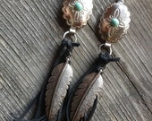 On Sale Western faux turquoise concho, feather and black deerskin leather fringe earrings