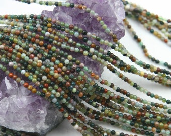 Lot of 5 strands 2mm Indian Agate (N) Loose Spacer Beads Round 15.5 inch strand (BD5954)