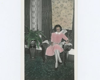 Young Woman Reading in Armchair,  c1940s Tinted Vintage Snapshot Photo (65463)