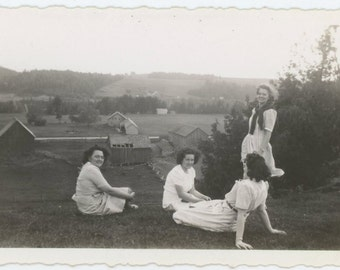 Women on Hillside Overlooking Farm, c1940s Vintage Snapshot Photo (65467)