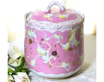 Antique Biscuit Barrel Jar Pink and White Feather Scolls