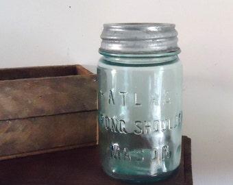 vintage mason jar, aqua blue, kitchen storage, Atlas Blue Glass Pint Mason Jar with zinc Lid