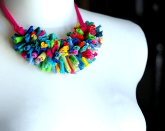 Chenille necklace - pink/neon green/multicolor/Upcycled/fringe/eco-friendly/antiallergic/babyfriendly/cirrhopp