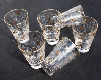 """Set of Six Gold and White Libbey """"Royal Fern""""  Glasses"""