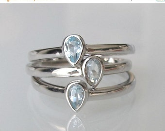 SALE Blue Topaz Stack Ring- Stack Ring- Mothers Ring- Birthstone Rings- December Ring- Topaz Ring- Stackable Rings- Silver Ring