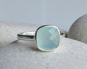 SALE Blue Chalcedony Ring- Something Blue- Blue Gemstone Ring- Blue Ring