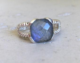 Square Labradorite Double Ring- Labradorite Statement Ring- Something Blue Ring- Boho Iridescent Ring- Solitaire Gyspy Stone Ring
