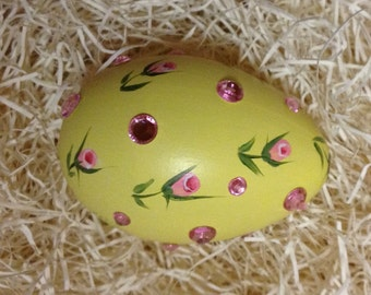 Hand Painted Easter Hen Egg yellow with dainty pink rosebuds and pink rhinestones scattered throughout the design one of a kind collectable