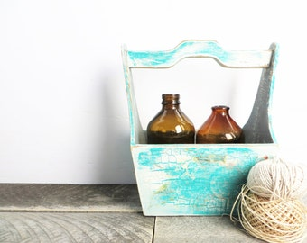 Rustic Little Caddy - Teal and Grey - Organization - Shabby Home Decor