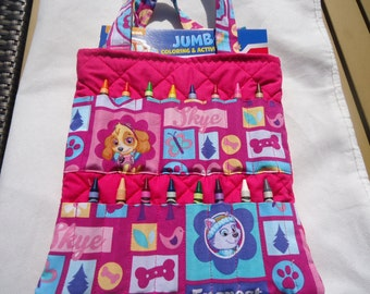 Paw Patrol Crayon Bag, Coloring Bag in Pinks.   Skye and Everest. Comes with Paw Patrol Coloring Book and Crayola Crayons. Ready to Ship