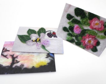 needle felted cards, set of 3 , greetings cards, value pack, blank cards,