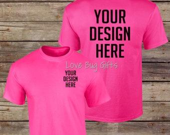 TShirt Mock Up - Hot Pink - Adult Unisex Short Sleeve Shirt - Add your design - INSTANT Download