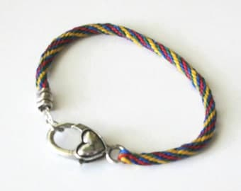 Heart clasp bracelet -- kumihimo braid in rainbow colors