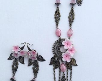 Sakura Jewelry - Flower Jewelry - Pendant Earrings Set - Light Pink Earrings - Handmade Jewelry - Wedding Jewelry