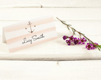 Wooden Nautical Stripe Folded Wedding Place Card