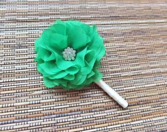Boutonniere, Shabby Chic Chiffon Rose Boutonniere, Green Chiffon Boutonniere