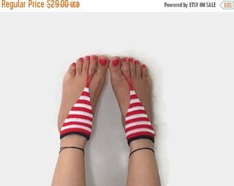 SALE 20% Barefoot Sandals ~ Red White Blue ~ Nautical Beach Wedding, Bridesmaid footwear, Summer Cruise Attire Boho Yoga feet jewelry