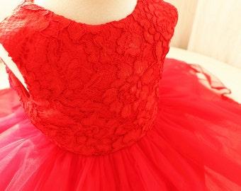 Hot Red Thanksgiving Dress Toddler, Baby Christmas Dress, Newborn Pageant Dress, Baby Tutu 1st Birthday, PD087-1