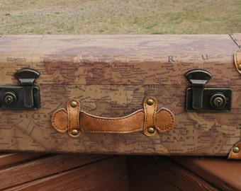 Map Box Wood, Covered with Maps, Leather, Steel Locks and Hinges, Wall Mount or Portable