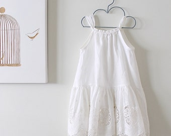 Flower Girl Dress-Linen and Lace Toddler Dress-Special Occasion Couture Dress-Baptism Dress-Handmade Chidren Clothing by Chasing Mini