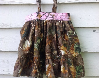 Size 6-12 Month Baby Girls Camouflage Dress, Newborn Girls Clothes, Camouflage Outfit, Baby Dress, Hunting Clothes for Baby, Pink Camouflage