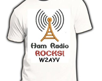 HAM RADIO Tee SHIRT P18 - Custom Printed Choice of Sayings & Callsign, Name , Club - Unisex Sizes  P18