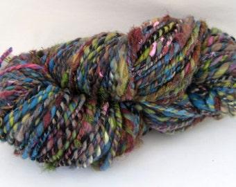 Handspun Art Yarn, 2 Ply, Textured Yarn, Olive, Blue and Brown