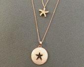 Rose gold starfish charm necklace, layering necklace, Wedding Jewelry, Beach wedding, cz embedded starfish charm, Mother daughter necklace