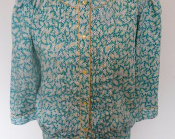 Pretty green white and yellow leaf motif Jacket