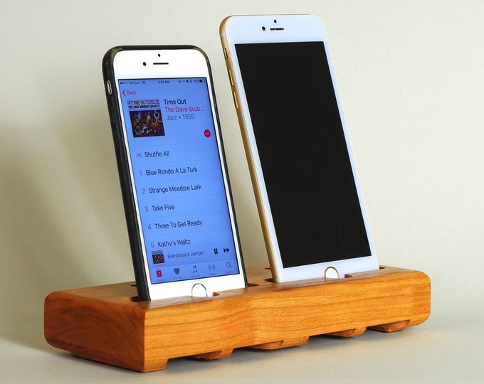 The EICHLER Dual Dock  in CHERRY – Fits all iPhone models - Leave your Case on - Boosts the Sound