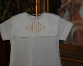 Boy's Monogrammed Heirloom Baptismal Baby All White Bubble with Square White Collar