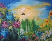 felt picture, floral felt art, wall art on canvas